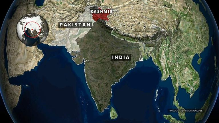 A map showing the location of Kashmir