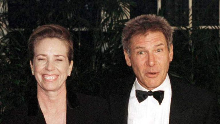 Melissa Mathison with her then-husband Harrison Ford