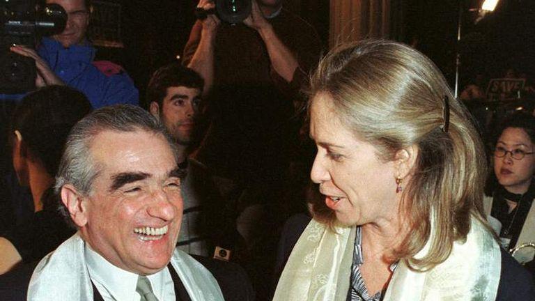 Melissa Mathison with director Martin Scorsese at the premiere of Kundun