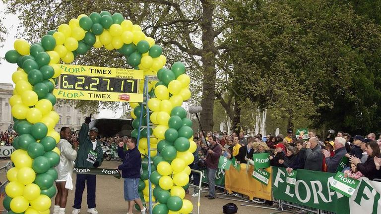 Former Boxer Michael Watson finishes the London Marathon in 2003