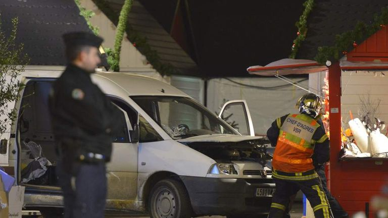 A van used to plough into a Christmas market injuring at least ten people