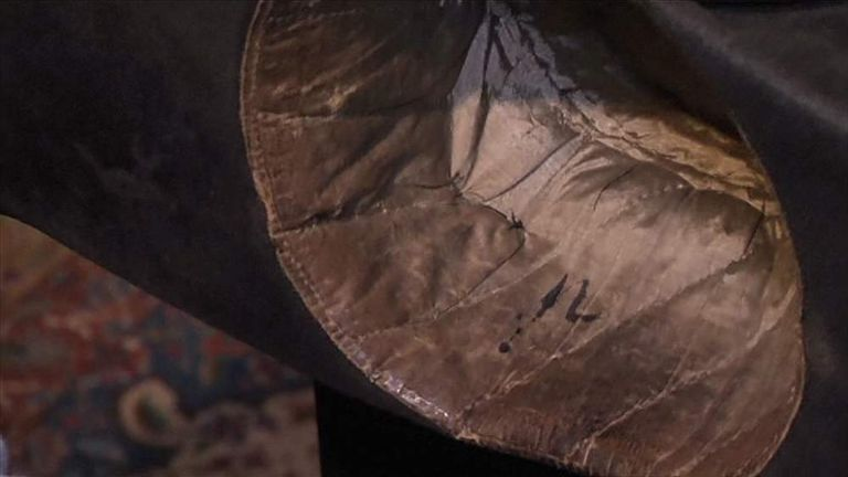 3e181134bbc The interior of the hat showing the bloodstain