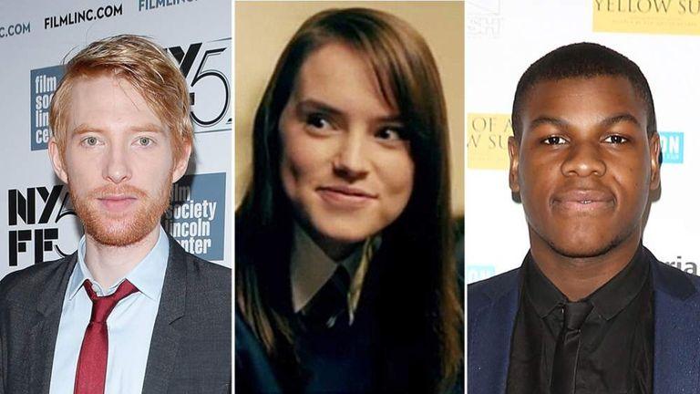 Domhnall Gleeson, Daisy Ridley and John Boyega