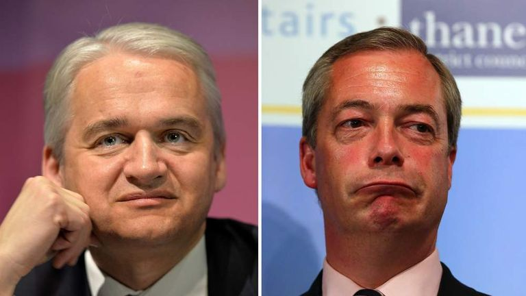 Patrick O'Flynn (L) described Nigel Farage as 'snarling' and 'aggressive'