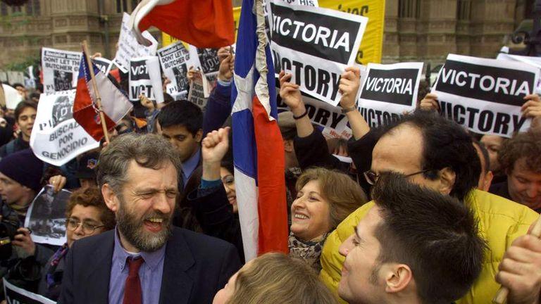 Demonstrators gather in celebration around British anti-Pinochet campaigner Jeremy Corbyn