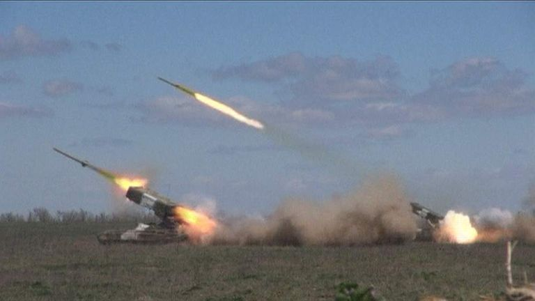 Russian rocket launchers operating close to Ukraine's border