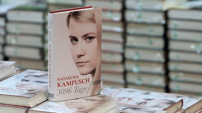 The book 3,096 Days by kidnap victim Kampusch is on display in a bookstore in Vienna