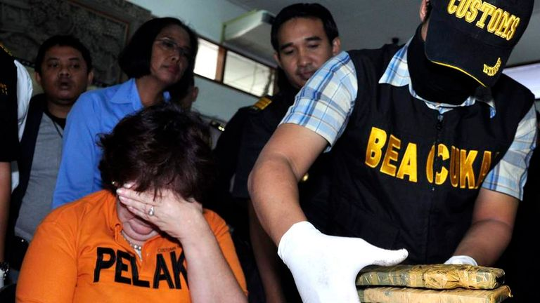 Lindsay June Sandiford is seen at a news conference at the Customs Office at Ngurah Rai International Airport in Bali