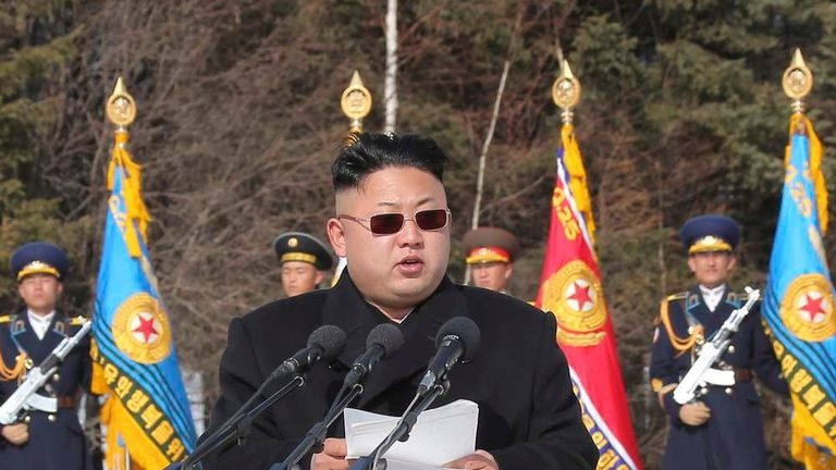 North Korean leader Kim Jong Un addresses commanding officers of the combined units of the Korean People's Army (KPA)