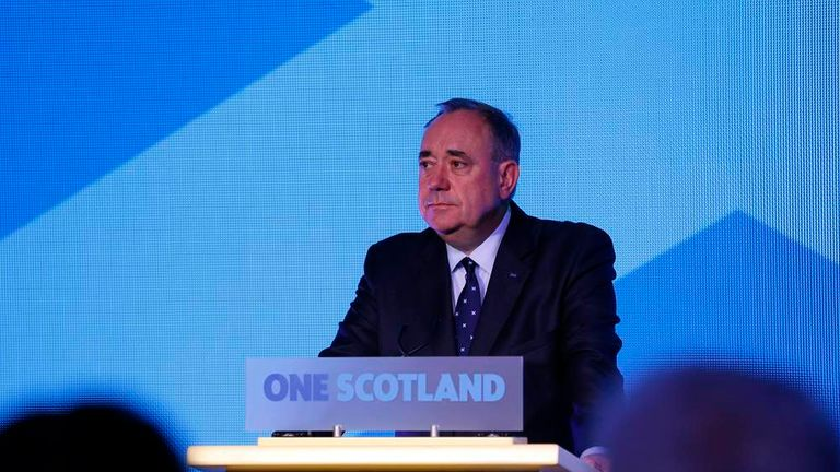 "Scotland's First Minister Alex Salmond speaks at the ""Yes"" Campaign headquarters in Edinburgh, Scotland"