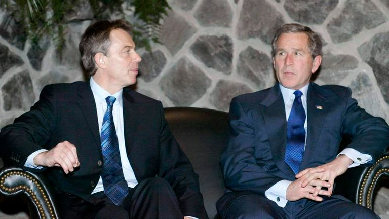 BUSH AND BLAIR MEET IN THE AZORES.