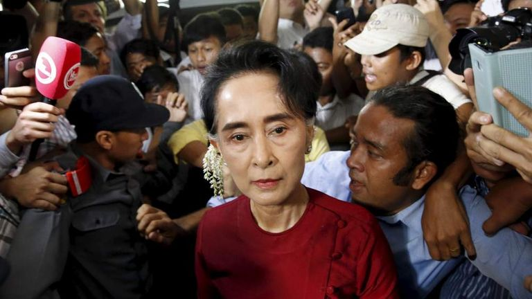 Myanmar's National League for Democracy party leader Aung San Suu Kyi