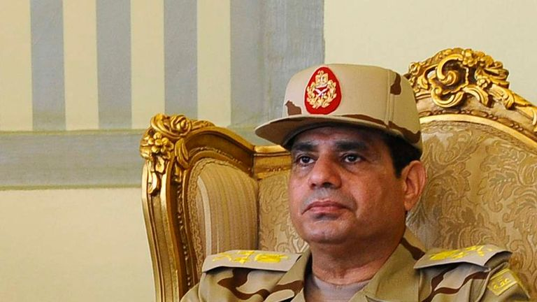 Abdel Fattah al-Sisi is seen during a news conference in Cairo on the release of seven members of the Egyptian security forces kidnapped by Islamist militants in Sinai.
