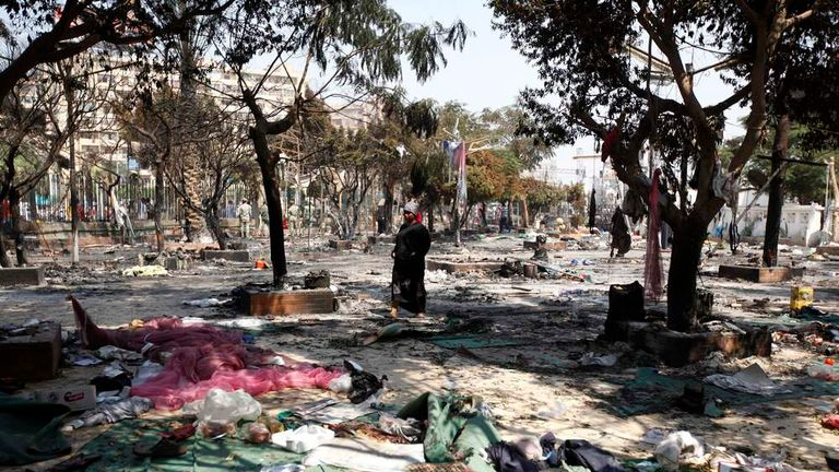 A view of the debris after the clearing of a protest camp outside the burnt Rabaa Adawiya mosque in Cairo
