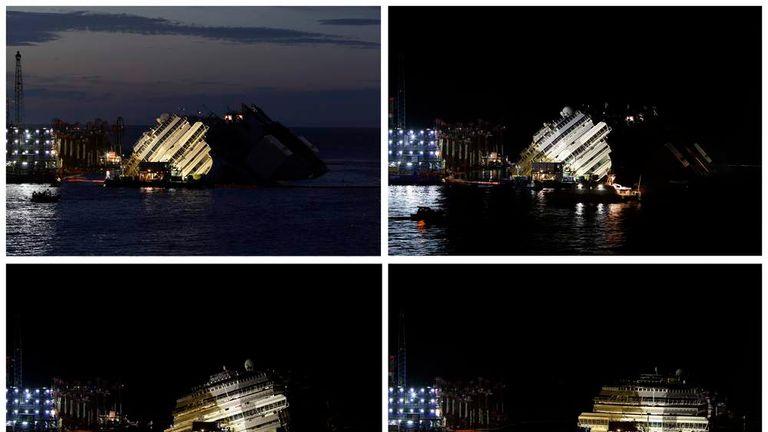 Costa Concordia righted