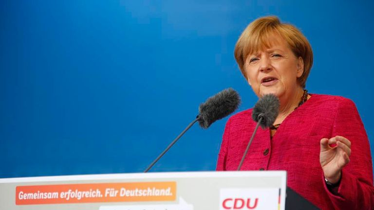German Chancellor Merkel makes speech during a CDU election campaign rally in Stralsund