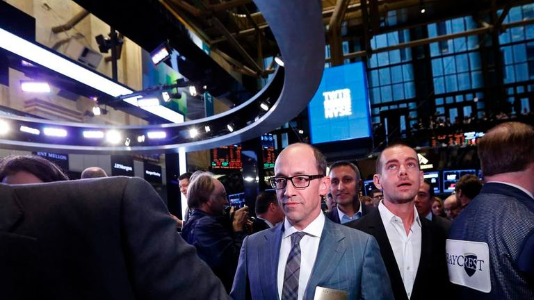 Twitter CEO Costolo and Twitter co-founder Dorsey