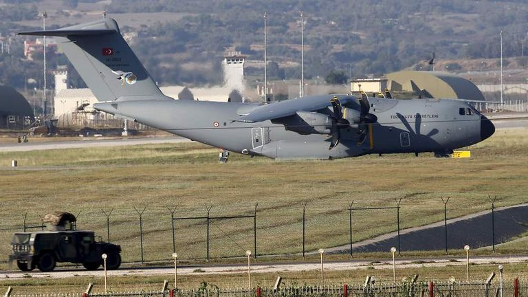 A Turkish Air Force A400M tactical transport aircraft is parked at Incirlik airbase in the southern city of Adana, Turkey