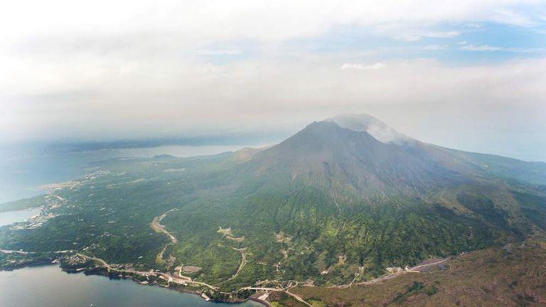 An aerial view shows Mt. Sakurajima in Kagoshima, southwestern Japan