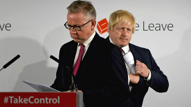 Justice Secretary Michael Gove and Boris Johnson