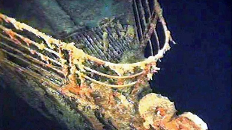 The port bow railing of the Titanic lies in 12,600 feet of water about 400 miles east of Nova Scotia..