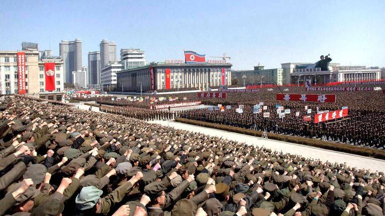 North Koreans attend a rally in support of North Korean leader Kim Jong-un's order to put its missile units on standby in preparation for a possible war against the U.S. and South Korea, in Pyongyang