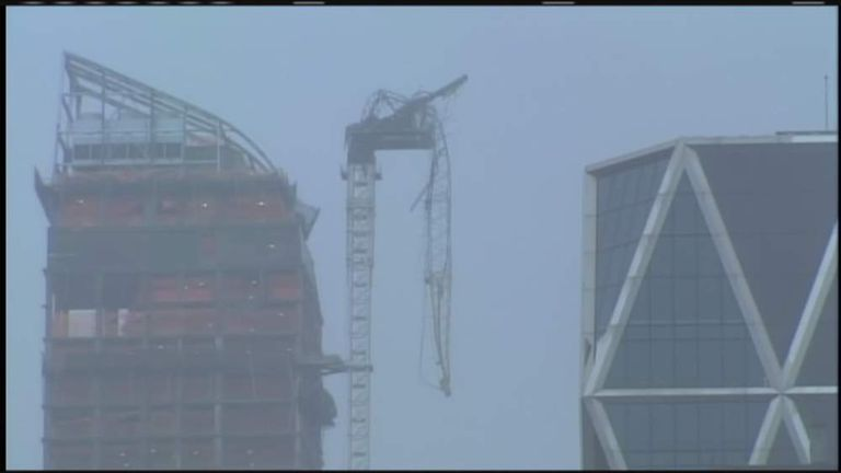 Collapsed crane in New York