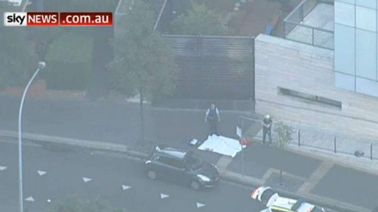 The scene outside the police headquarters building in Parramatta, Sydney