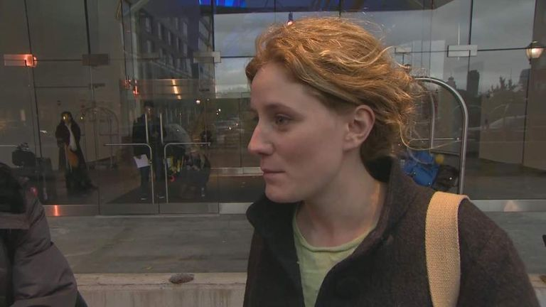 British tourist Alanna Pentlow is stranded in New York by Hurricane Sandy