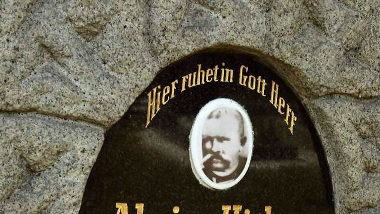 The headstone marking the grave of Alois and Klara Hitler, the parents of Adolf Hitler