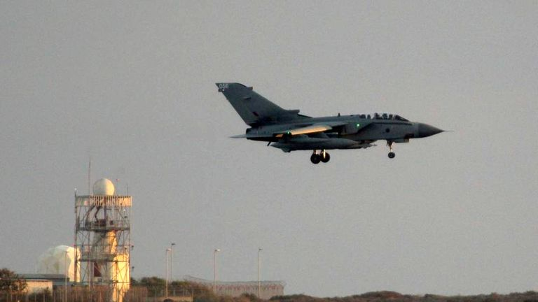 A British Tornado fighter jet lands at the British Royal Air Force's Akrotiri base in Cyprus