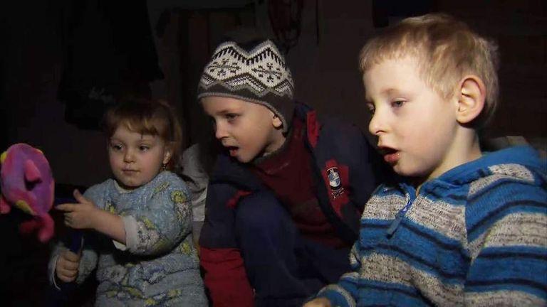 Children in an underground shelter in Donetsk