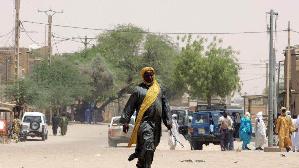 A local resident walks through Timbuktu, Mali