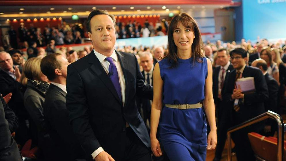 David and Samantha Cameron leaving the hall