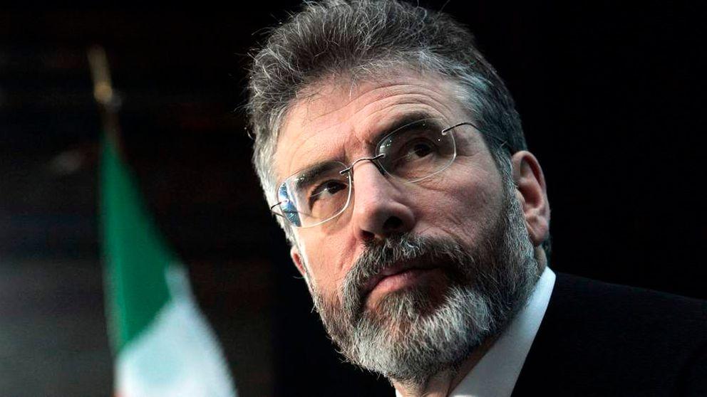 Sinn Fein leader Adams looks up during an extraordinary Sinn Fein meeting in Dublin