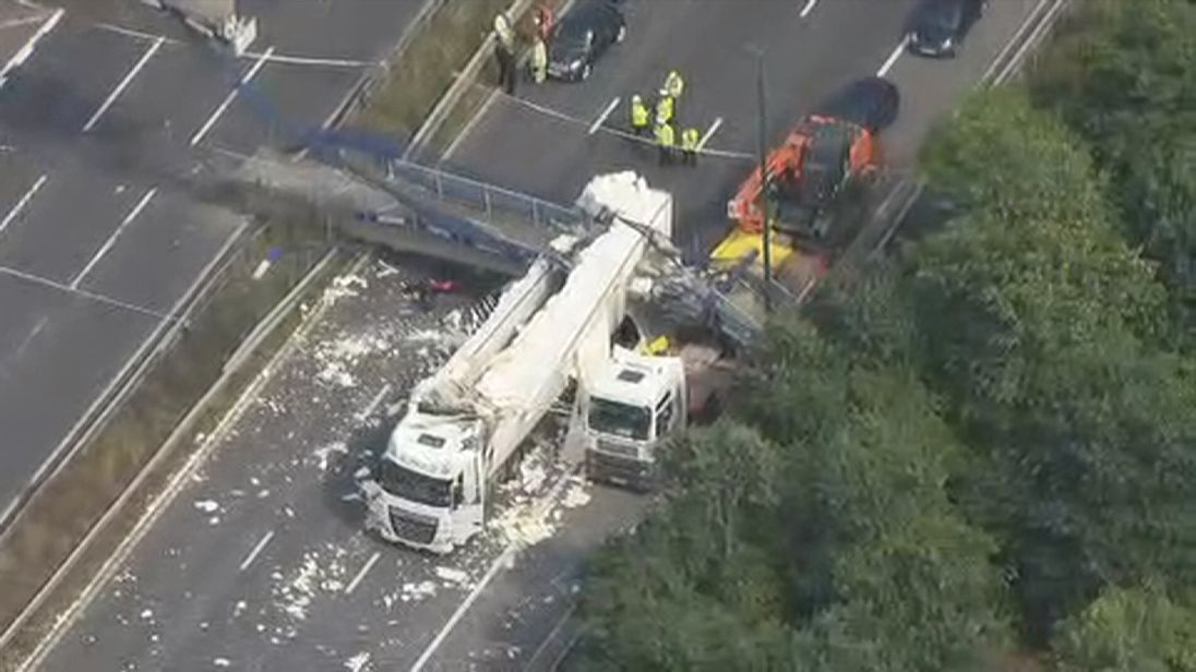 Aerial pictures show the extent of the damage caused by the bridge collapse