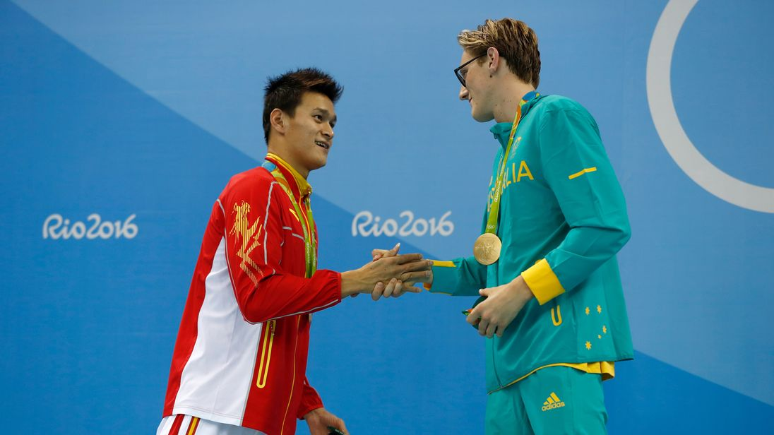Sun Yang shakes hands with Mack Horton after he missed out on gold