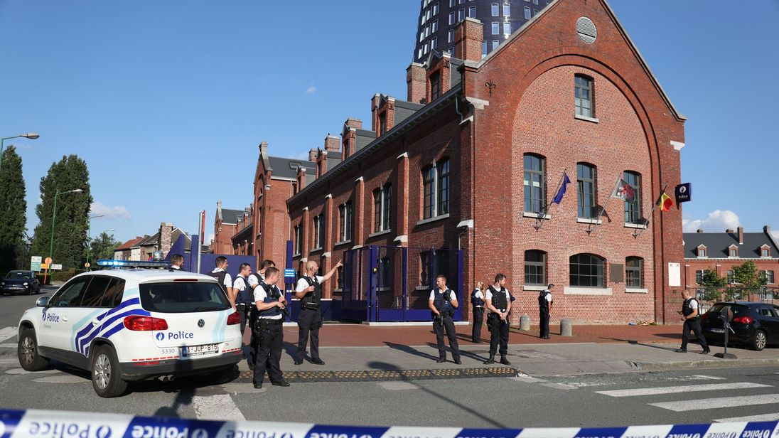 The scene where two police officers were attacked by a machete-wielding man in Charleroi