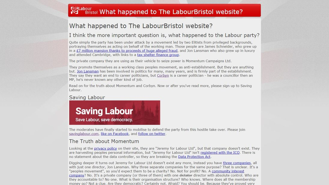 The Labour Bristol website