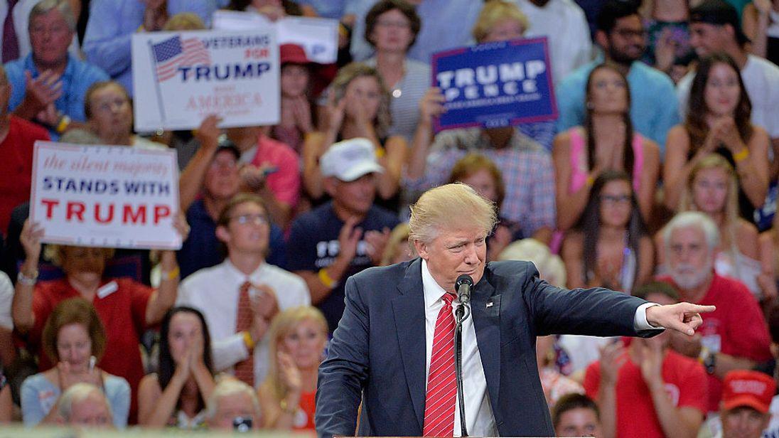 Donald Trump addresses an audience in North Carolina
