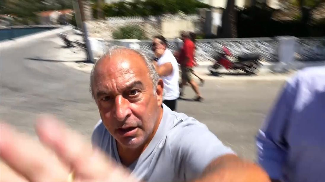 Sir Philip Green reacts angrily to questions from Sky News