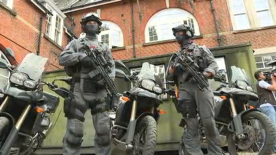 Armed officers in London