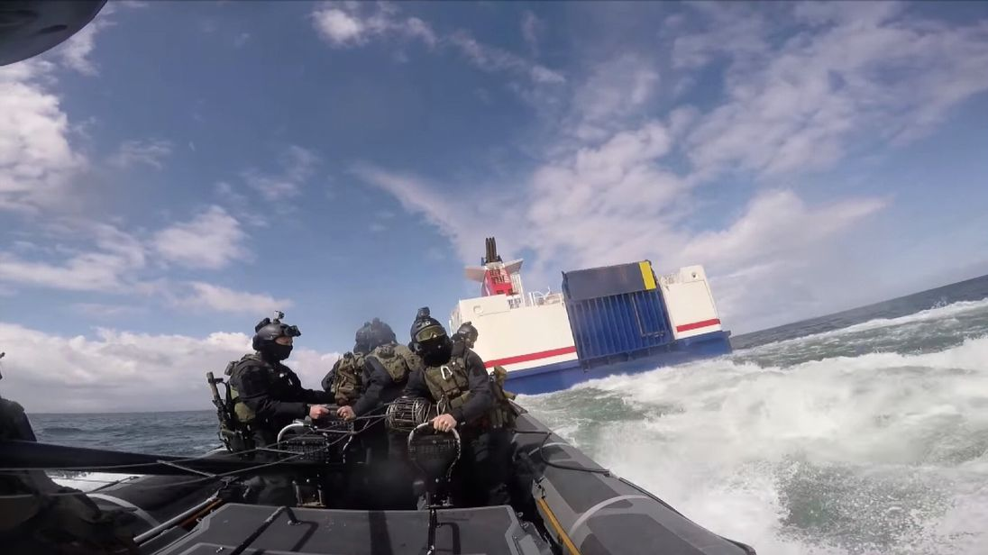 Irish Defence Forces carry out a training exercise on a ferry