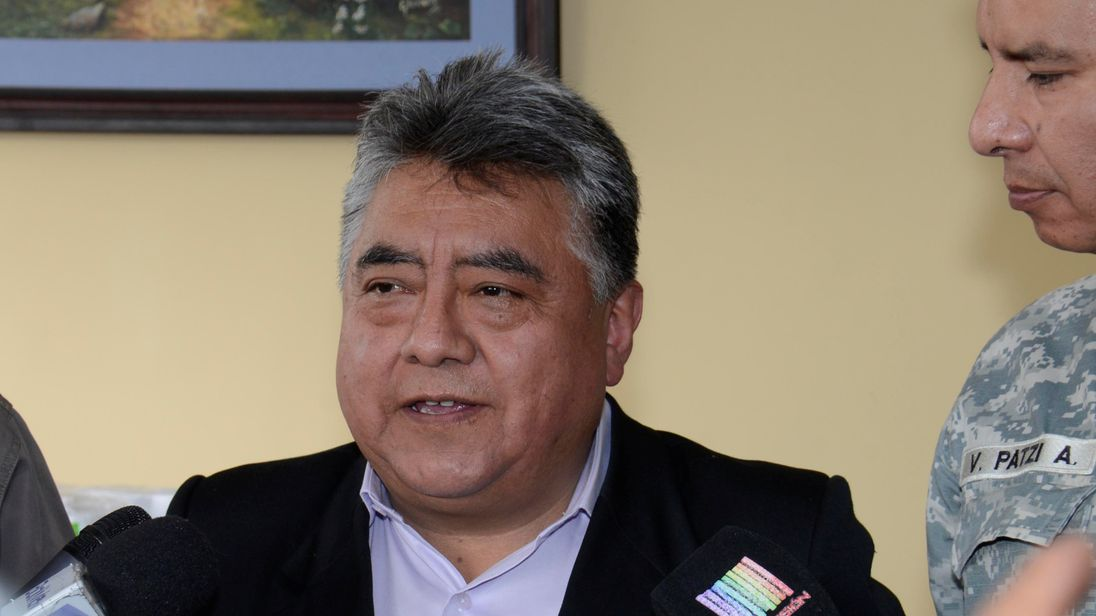 Bolivian Deputy Interior Minister Rodolfo Illanes pictured at a news conference