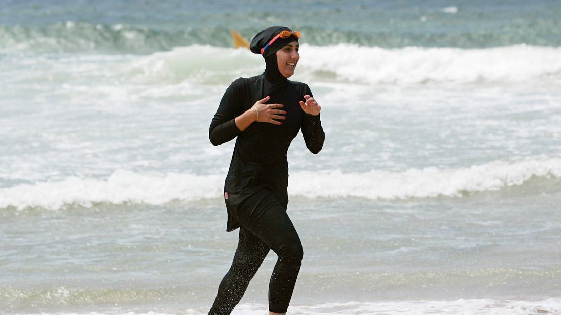 A woman wears a burkini at an Australian beach. File pic