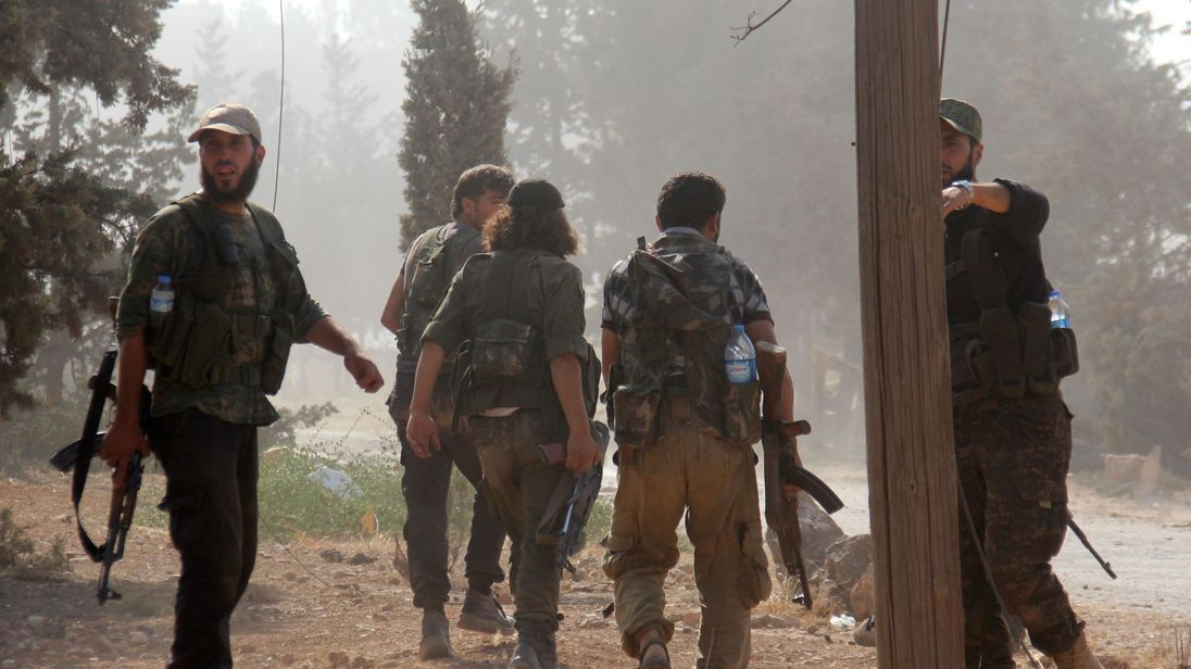 Fighters from Fateh al-Sham Front south of Aleppo