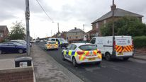 Police at the scene in Kelloe, where a man was stabbed