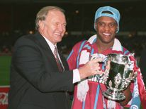 Aston Villa manager Ron Atkinson and striker Dalian Atkinson celebrate with the trophy