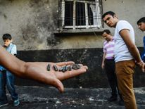 Pieces of projectile near the explosion scene in Gaziantep, Turkey