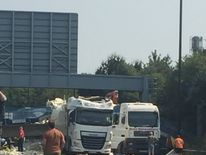 The scene after the bridge collapsed on the M20 between junction 3 and 4.